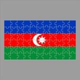 Flagge Azeybardjan von den Puzzlespielen auf einem grauen Hintergrund lizenzfreie abbildung
