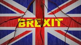 Flagge Brexit Großbritannien gebrochen - Wiedergabe 3d stock abbildung