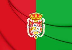 Flagge 3D von Granada-Stadt, Spanien lizenzfreie abbildung