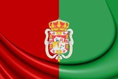 Flagge 3D von Granada-Stadt, Spanien vektor abbildung