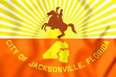 Flagge 3D von Jacksonville u. von x28; Florida& x29; , USA Stockbild