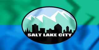 Flagge 3D von Salt Lake City Utah, USA Abbildung 3D Stockfotografie