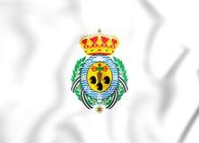 Flagge 3D von Santa Cruz de Tenerife City, Spanien lizenzfreie abbildung