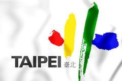 Flagge 3D von Taipeh, Taiwan vektor abbildung