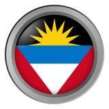 Flagge der Antigua und Barbuda-Runde als Knopf vektor abbildung