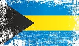 Flagge der Bahamas, Commonwealth of the Bahamas, geknitterte schmutzige Stellen lizenzfreie abbildung