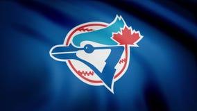 Flagge der Baseball-Toronto Blue Jays, amerikanisches Teamlogo des professionellen Baseballs, nahtlose Schleife Redaktionelle Ani stock footage