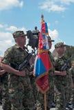 Flagge der dritten Brigade der serbischen Armee Stockfoto