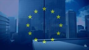 Flagge der EU mit Stadt lizenzfreie abbildung