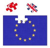 Flagge der Europäischen Gemeinschaft, die herein Puzzlestück Vereinigten Königreichs Großbritannien, Brexit, EU-Sonnenuntergang,  Lizenzfreie Stockfotos