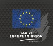 Flagge der Europäischen Gemeinschaft, gezeichnete Illustration der Vektorskizze Hand auf dunklem Schmutzhintergrund Lizenzfreie Stockfotos
