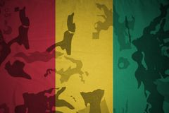 Flagge der Guine auf der kakifarbigen Beschaffenheit Grüne taktische Schutzkleidung mit US-Streifenmarkierungsfahne und Nahaufnah stock abbildung