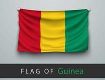 FLAGGE der Guine zerschlagen, gehangen an die Wand lizenzfreie abbildung