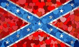 Flagge der Konföderierten hergestellt vom Herzhintergrund Lizenzfreie Stockfotografie