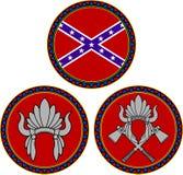 Flagge der Konföderierten und indischer Kopfschmuck Stockfotos