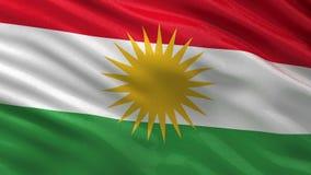 Flagge der nahtlosen Schleife des Kurdistans stock footage