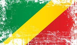 Flagge der Republik Kongos, Afrika Geknitterte schmutzige Stellen vektor abbildung