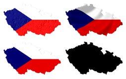 Flagge der Tschechischen Republik über Kartencollage Stockfotografie