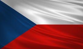 Flagge der Tschechischen Republik, die im Wind durchbrennt Detail des alten hölzernen Fensters 3d Wiedergabe, Welle Lizenzfreie Stockfotografie