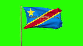 Flagge des Demokratischen Republiken Kongo mit Titel stock footage