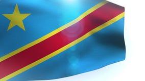 Flagge des Demokratischen Republiken Kongo wellenartig bewegend in den Wind stock video footage