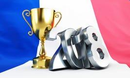 Flagge des Fußballs 2018 der Illustration des Frankreich-Goldcup-Siegers 3D, Wiedergabe 3D Stockfotografie