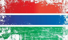 Flagge des Gambias, Afrika Geknitterte schmutzige Stellen vektor abbildung