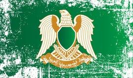 Flagge des libyschen Arabers Jamahiriya, Muammar Gaddafi, Afrika der großen sozialistischen Leute Geknitterte schmutzige Stellen vektor abbildung