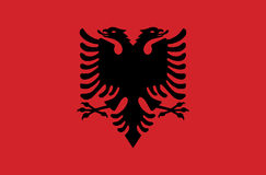 Flagge des souveränen Staats des Landes von Albanien in den offiziellen Farben stockbild