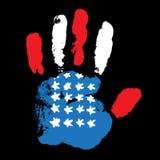 Flagge Handprint USA auf schwarzem Hintergrund Lizenzfreie Stockfotos