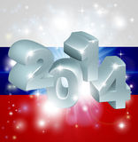 Flagge mit 2014 Russen Lizenzfreies Stockfoto