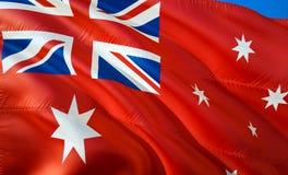 Flagge roter Fahne Australiens wellenartig bewegendes Design der Flagge 3D Das nationale Sonderzeichen roter Fahne Australiens, W stockfotos