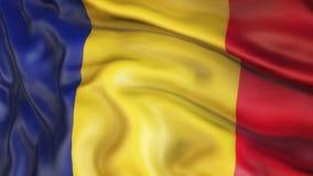 Flagge, Rumänien, Flagge von Rumänien aufgebend Stockfoto