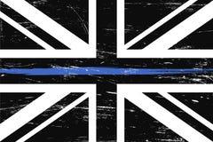 Flagge a Schmutz-Vereinigten Königreichs mit dünner blauer Linie lizenzfreie abbildung