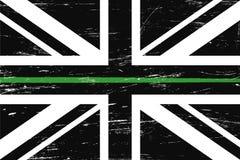 Flagge Schmutz-Vereinigten Königreichs mit einer dünnen Grünen Grenze lizenzfreie abbildung
