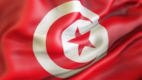 Flagge, Tunesien Aufgeben der Flagge von Tunesien Lizenzfreies Stockfoto