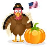 Flagge u. Kürbis der Danksagungs-Türkei USA Lizenzfreie Stockfotos
