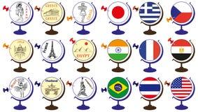 Flagge und Anziehungskräfte in der Weltkugel Lizenzfreie Stockfotografie