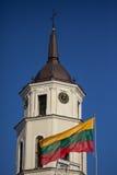 Flagge und Belfry von Vilnius-Kathedrale Stockbild
