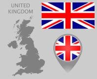 Flagge Vereinigten Königreichs, leere Karte und Kartenzeiger lizenzfreie abbildung