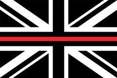 Flagge Vereinigten Königreichs mit einer dünnen roten Linie stock abbildung
