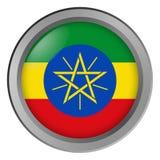 Flagge von Äthiopien-Runde als Knopf stock abbildung