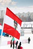 Flagge von Österreich auf Wind am bewölkten Tag des Winters Lizenzfreie Stockbilder