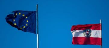 Flagge von Österreich und die Europäische Gemeinschaft für den EU-Rats-Vorsitz Stockfotos