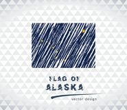 Flagge von Alaska, Vektorkreideillustration auf schwarzem Hintergrund Stockfoto