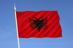 Flagge von Albanien - Osteuropa Stockfotografie