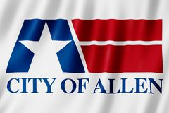 Flagge von Allen-Stadt, Texas US lizenzfreie abbildung