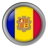 Flagge von Andorra-Runde als Knopf lizenzfreie abbildung