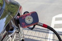Flagge von Belize auf der Auto ` s Brennstoff-Füllerklappe stockfoto