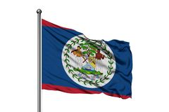 Flagge von Belize wellenartig bewegend in den Wind, lokalisierter weißer Hintergrund Belizische Flagge lizenzfreie stockfotografie